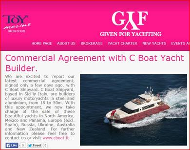 Commercial Agreement: Given For Yachting and C.Boat