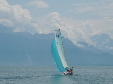 Saphire LeCinc sailing on lake Geneva
