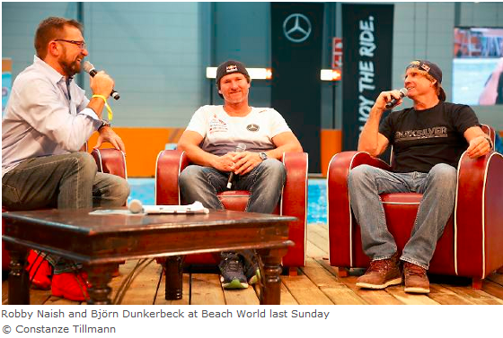 Robby Naish and Björn Dunkerbeck at Beach World last Sunday